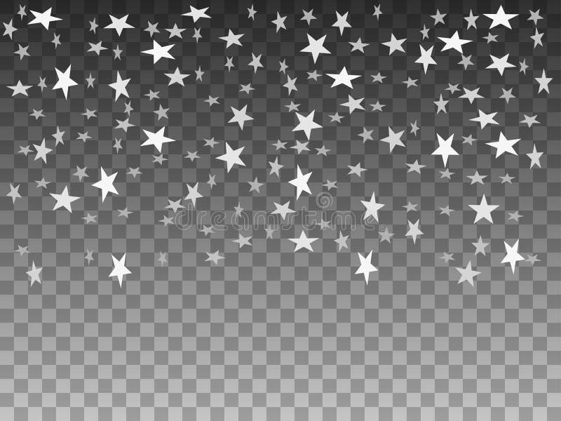 Vektorillustration av fallande objektvitstjärnor vektor illustrationer