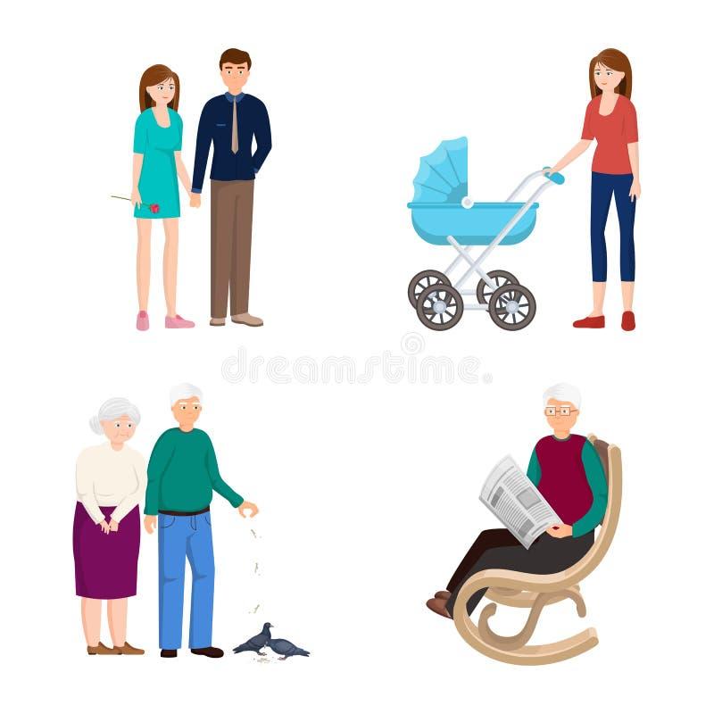 Vektorillustration av familj- och folksymbolen Samling av familj- och avatarmaterielsymbolet f?r reng?ringsduk vektor illustrationer