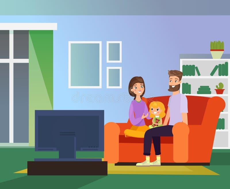 Vektorillustration av familjen som håller ögonen på tillsammans TV, familjafton Lyckliga föräldrar och dotter som sitter på soffa royaltyfri illustrationer