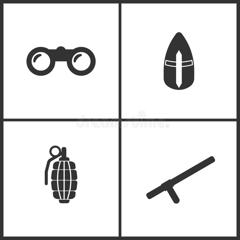 Vektorillustration av fastställda symboler för vapen Passande för bruk på rengöringsdukapps, mobila apps och tryckmassmedia Bestå royaltyfri illustrationer