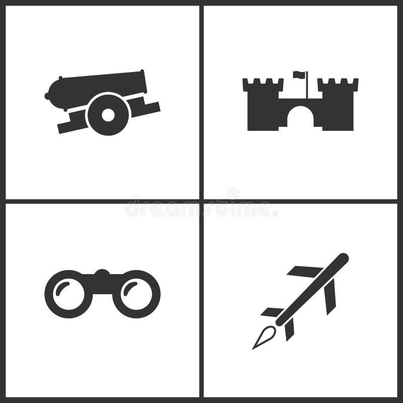 Vektorillustration av fastställda symboler för vapen Passande för bruk på rengöringsdukapps, mobila apps och tryckmassmedia Bestå vektor illustrationer