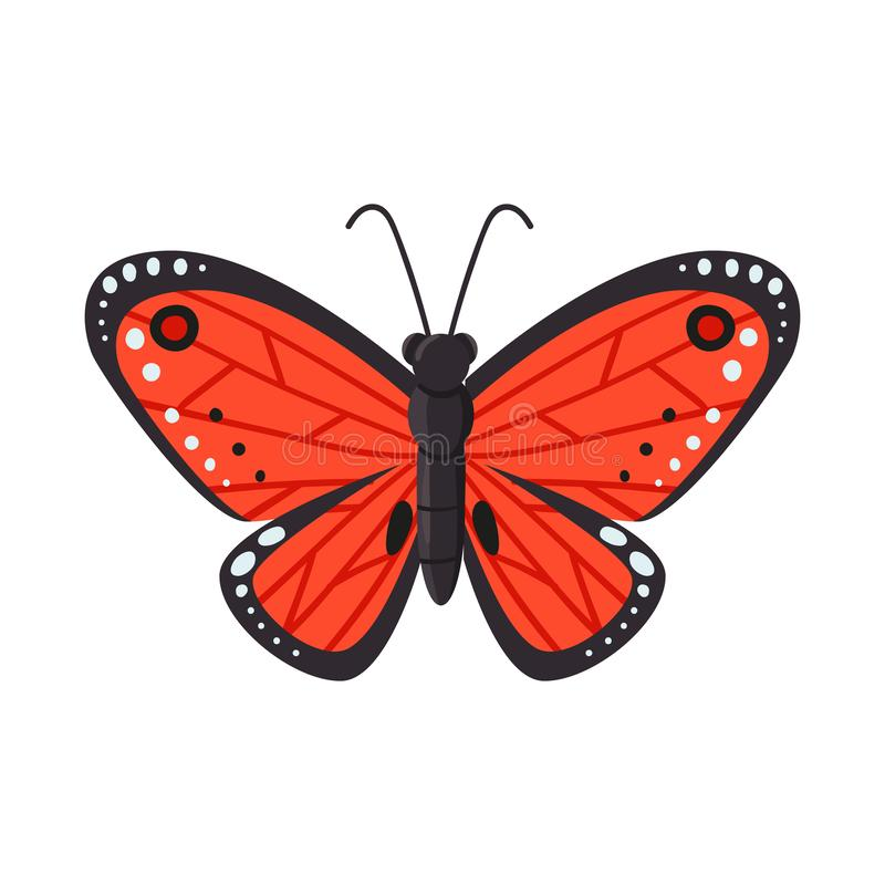 Vektorillustration av fjärilen och det röda symbolet Ställ in av fjärils- och artmaterielsymbolet för rengöringsduk stock illustrationer