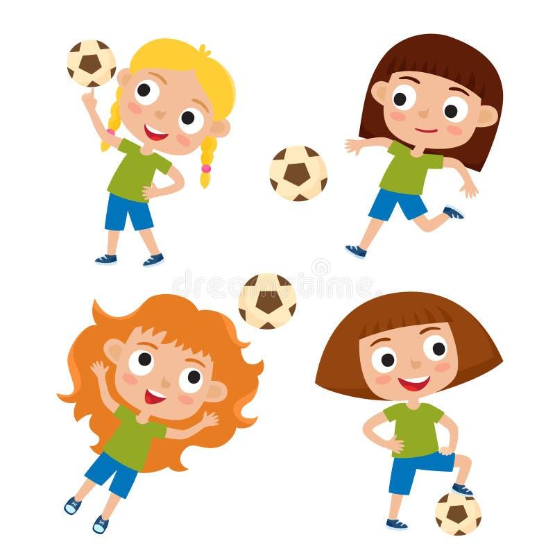 Vektorillustration av flickor i skjorta och kortslutningen som spelar fotboll royaltyfri illustrationer