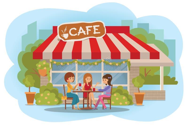 Vektorillustration av folk på det utomhus- kafét Tre vänkvinnor som sitter, medan dricka varmt kaffe och samtal vektor illustrationer