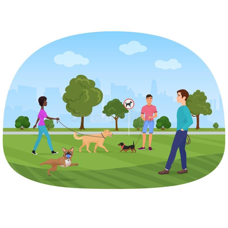 Vektorillustration av folket som går med hundkapplöpning i parkera Folkhundvänner, dogshops stock illustrationer