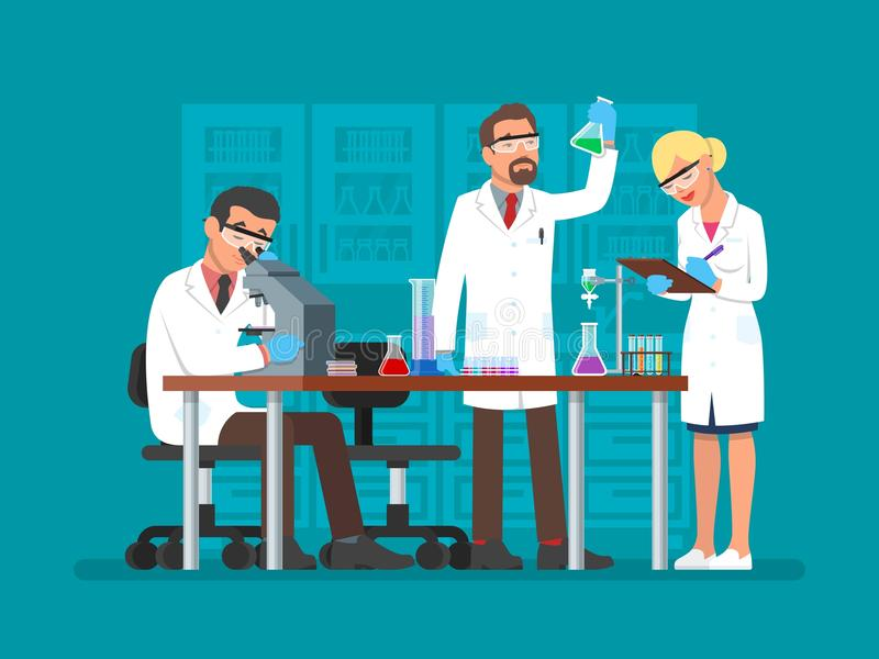 Vektorillustration av forskare som arbetar på vetenskapslabbet, lägenhetstil royaltyfri illustrationer