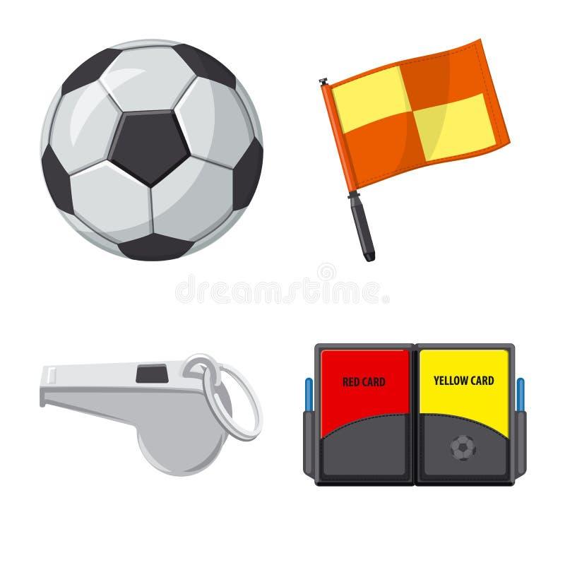Vektorillustration av fotboll och kugghjulsymbolen Uppsättning av illustrationen för fotboll- och turneringmaterielvektor royaltyfri illustrationer