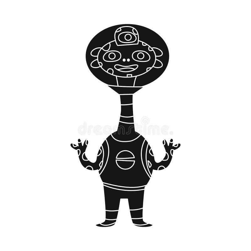 Vektorillustration av fr?mling- och astronautsymbolen St?ll in av fr?mling och gullig materielvektorillustration stock illustrationer