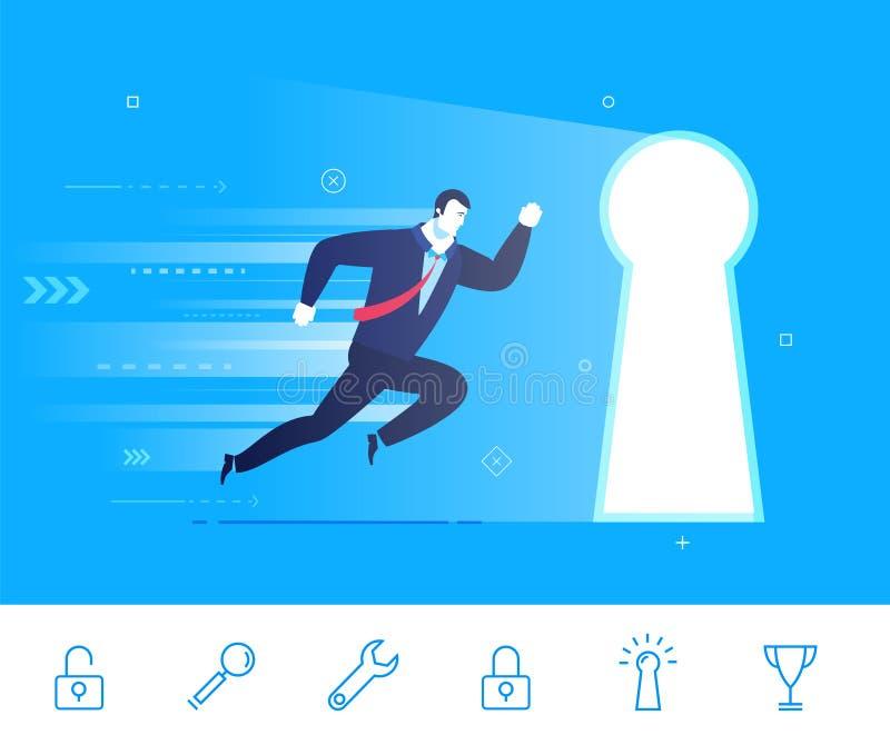Vektorillustration av framgång Affärsmannen går till dörren vektor illustrationer