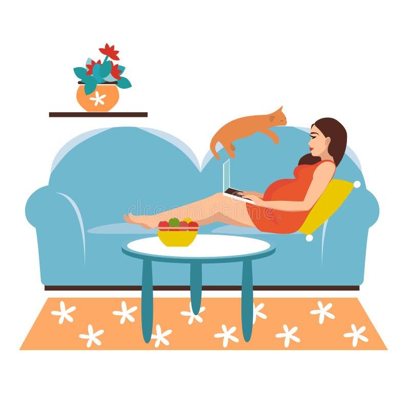 Vektorillustration av frilans- arbete En gravid flicka arbetar på en dator och ligger på en soffa hemma studera vektor illustrationer