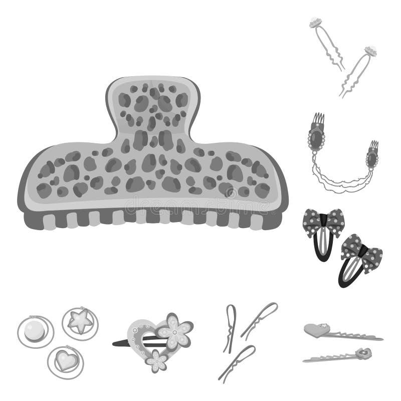 Vektorillustration av frisering- och haircliplogoen St?ll in av illustration f?r frisering- och modematerielvektor stock illustrationer