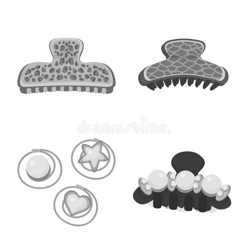 Vektorillustration av frisering- och hairclipsymbolen Samling av illustrationen f?r frisering- och modematerielvektor royaltyfri illustrationer