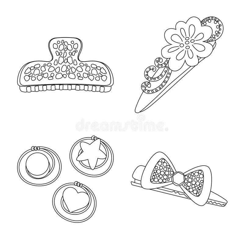 Vektorillustration av frisering- och hairclipsymbolen Samling av frisering och tillbehörmaterielvektorn stock illustrationer