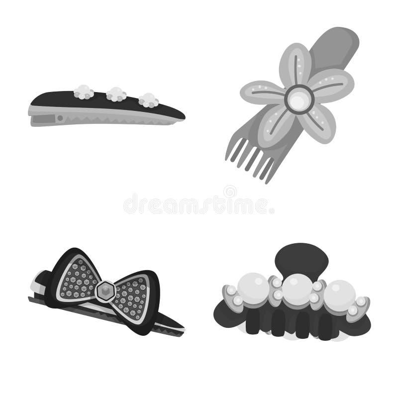 Vektorillustration av frisering- och hairclipsymbolen St?ll in av illustration f?r frisering- och modematerielvektor stock illustrationer
