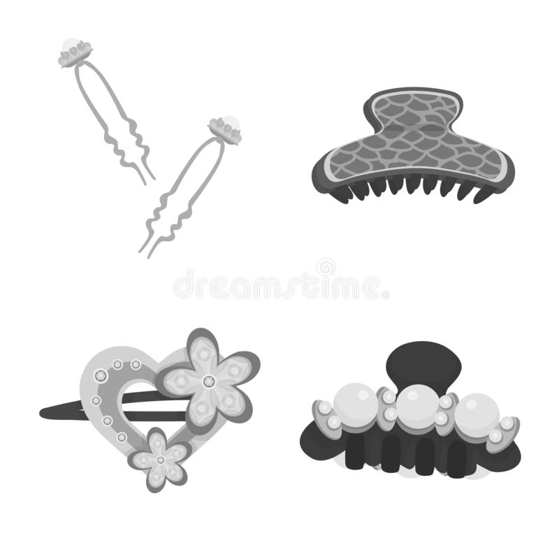 Vektorillustration av frisering- och hairclipsymbolen St?ll in av frisering- och modematerielsymbolet f?r reng?ringsduk vektor illustrationer