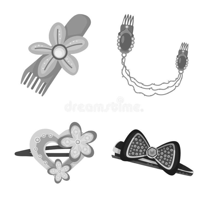 Vektorillustration av frisering- och hairclipsymbolet Samling av frisering- och modevektorsymbolen f?r materiel royaltyfri illustrationer