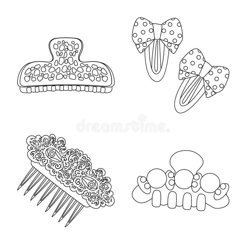 Vektorillustration av frisering- och hairclipsymbolet Samling av frisering och tillbehörmaterielvektorn vektor illustrationer