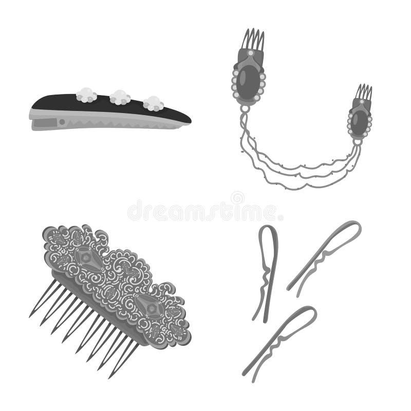 Vektorillustration av frisering- och haircliptecknet St?ll in av frisering- och modevektorsymbolen f?r materiel vektor illustrationer