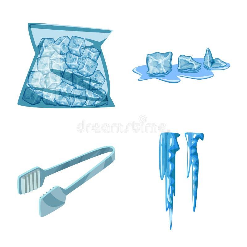 Vektorillustration av frost- och vattenlogoen r stock illustrationer