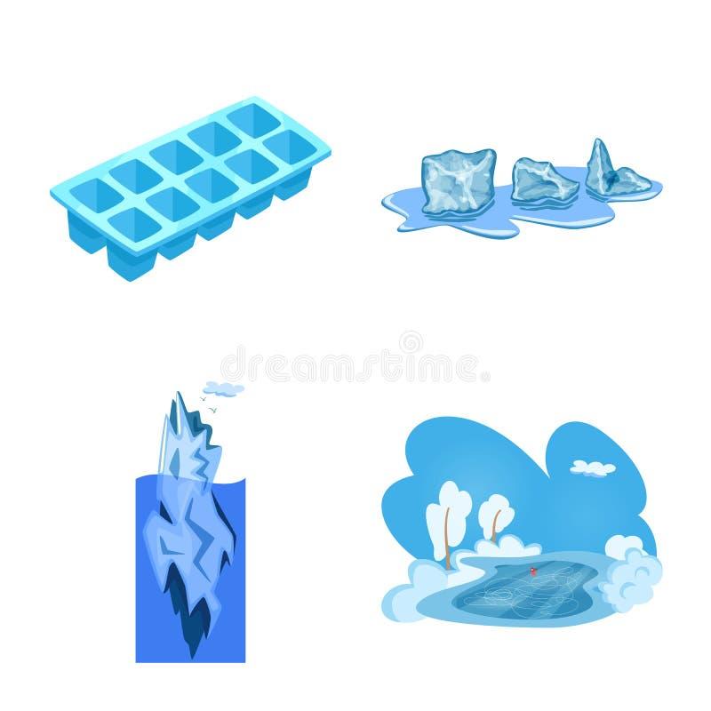 Vektorillustration av frost- och vattenlogoen Samlingen av frost och v?ta lagerf?r symbolet f?r reng?ringsduk vektor illustrationer