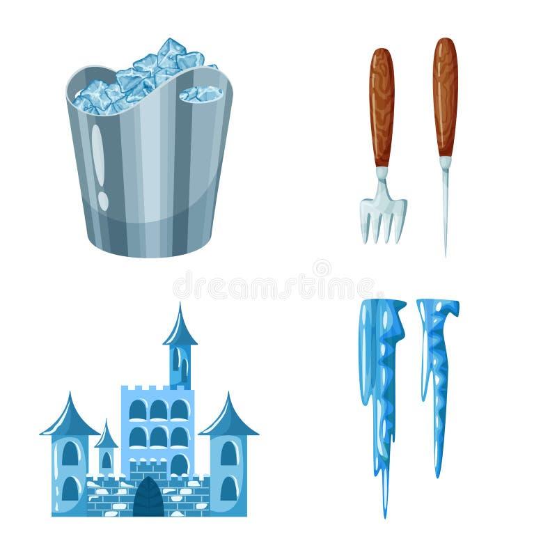 Vektorillustration av frost- och vattensymbolen St?ll in av frost och v?t materielvektorillustration vektor illustrationer