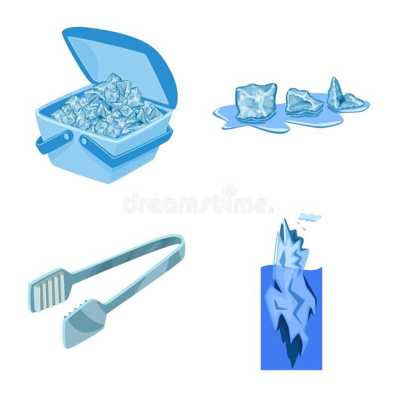 Vektorillustration av frost- och vattentecknet Samlingen av frost och v?ta lagerf?r symbolet f?r reng?ringsduk royaltyfri illustrationer
