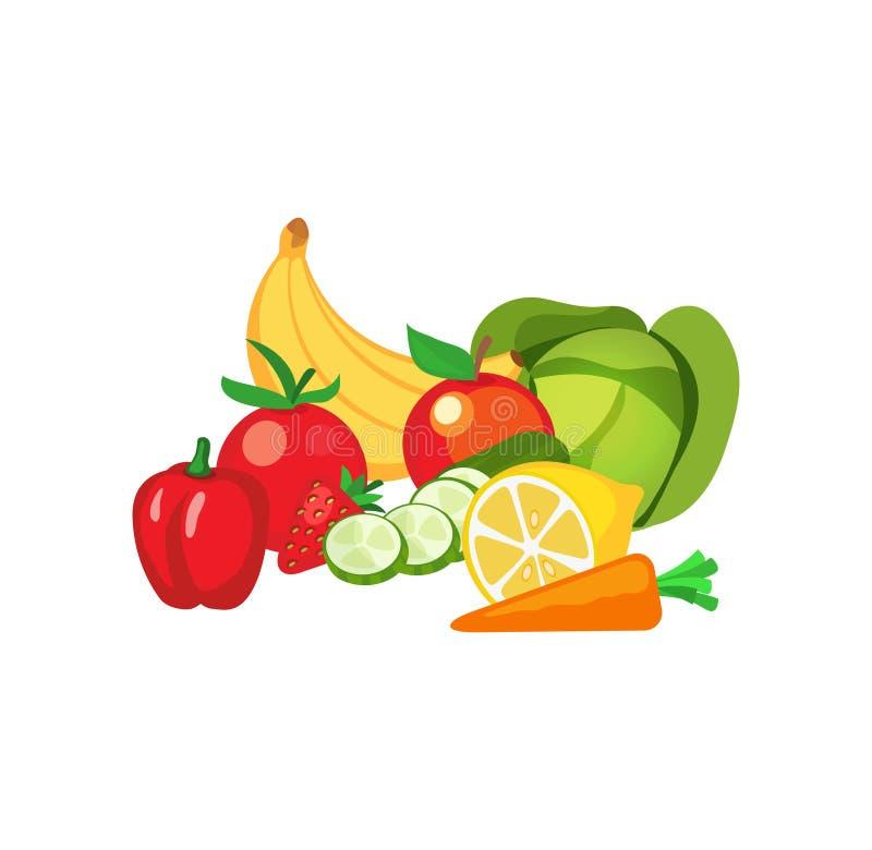 Vektorillustration av frukter och grönsaker stock illustrationer