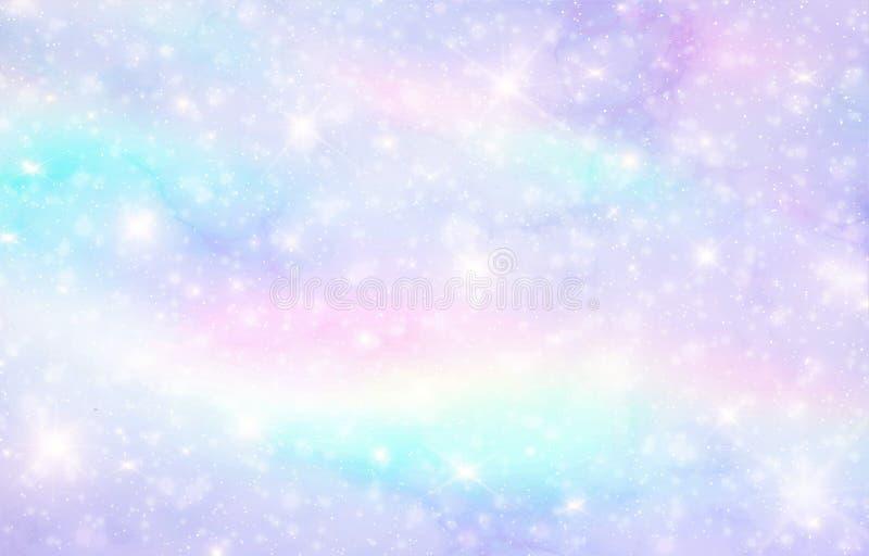 Vektorillustration av galaxfantasibakgrund och pastellfärgad färg Enhörningen i pastellfärgad himmel med regnbågen Pastellfärgade stock illustrationer