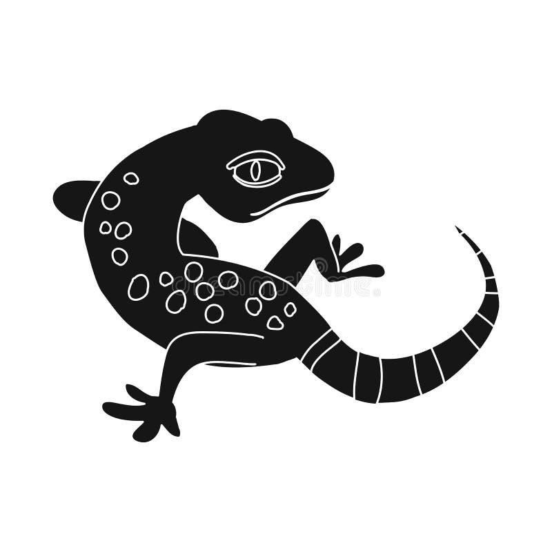 Vektorillustration av gecko- och ödlasymbolet Ställ in av gecko och den gulliga vektorsymbolen för materiel vektor illustrationer