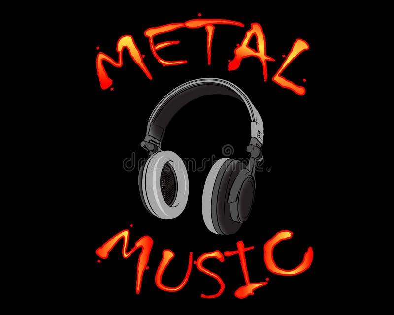 Vektorillustration av grå hörlurar med inskriften för inskriftmetallmusik på svart bakgrund royaltyfri fotografi