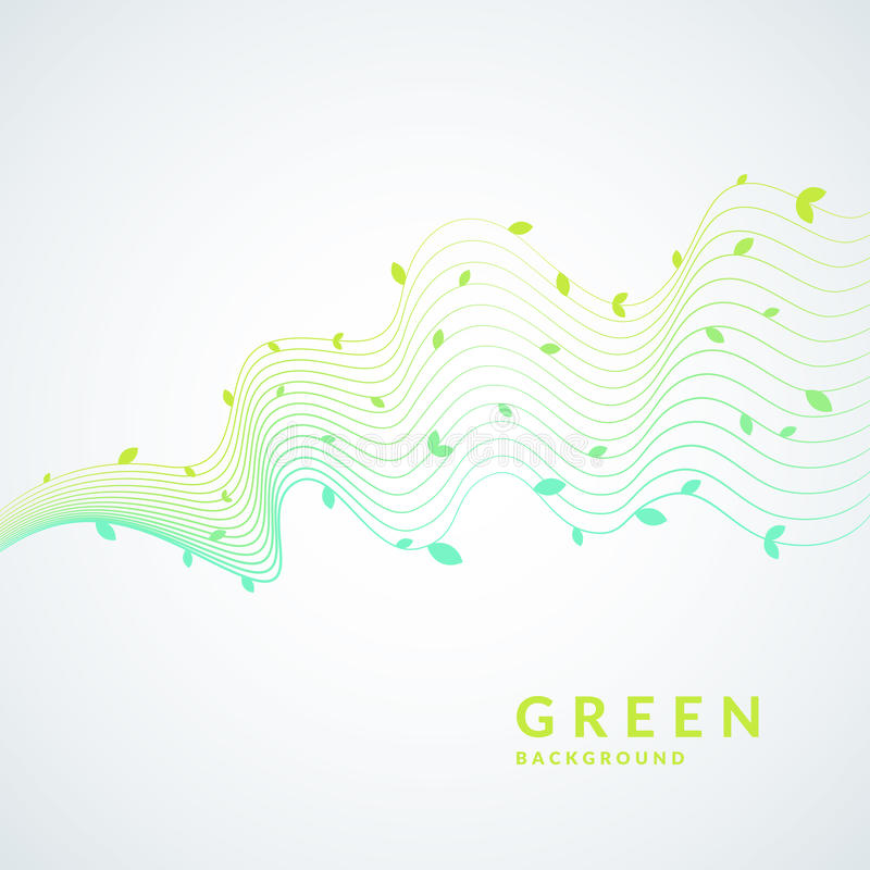 Vektorillustration av grön bakgrund med dynamiska vågor och sidor Ljus affisch vektor illustrationer