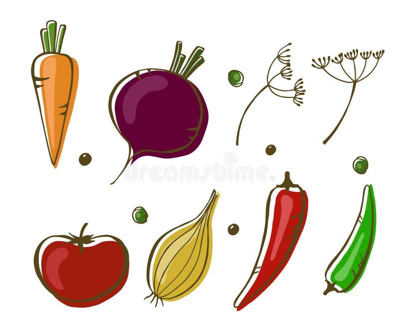 Vektorillustration av grönsaker: lök, peppar, takt, morot och tomat på vit bakgrund vektor illustrationer