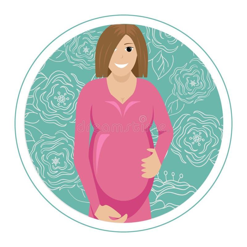Vektorillustration av gravida kvinnan på en rund blomma tillbaka royaltyfri illustrationer