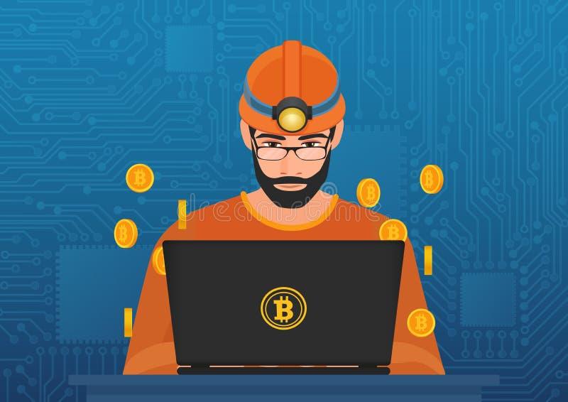 Vektorillustration av gruvarbetaren för ung man, i hardhatsammanträde på bärbara datorn och att bryta bitcoincryptocurrency royaltyfri illustrationer