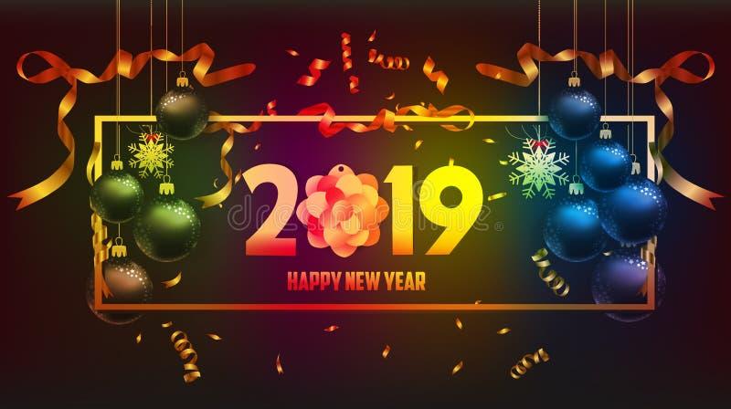 Vektorillustration av guld 2019 för lyckligt nytt år och svartfärgstället för textjulbollar