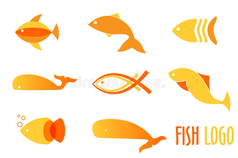 Vektorillustration av guld- fiskar för varma färger Abstrakta fisklogoer ställer in för havs- restaurang, eller fisken shoppar stock illustrationer