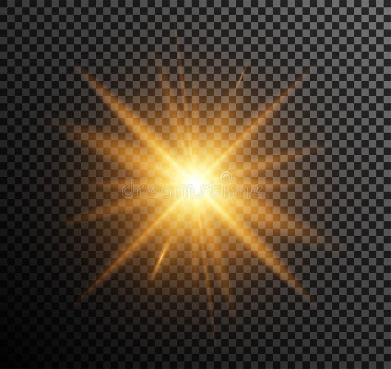 Vektorillustration av guld- ljus stock illustrationer