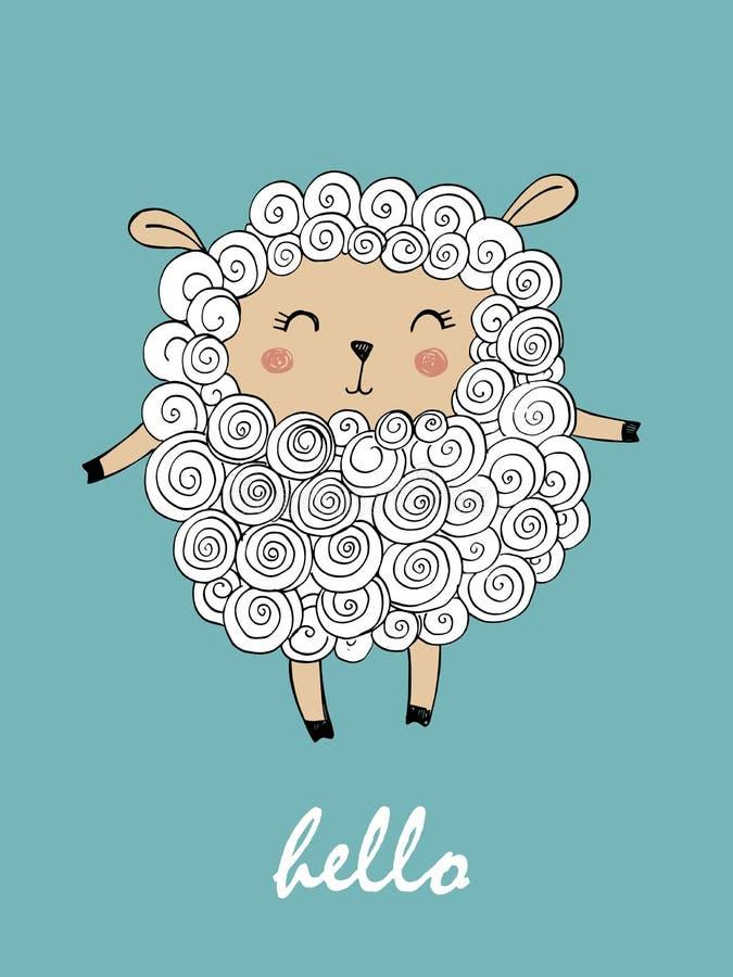 Vektorillustration av gulliga får - lamm Handhandstil - Hello royaltyfri illustrationer