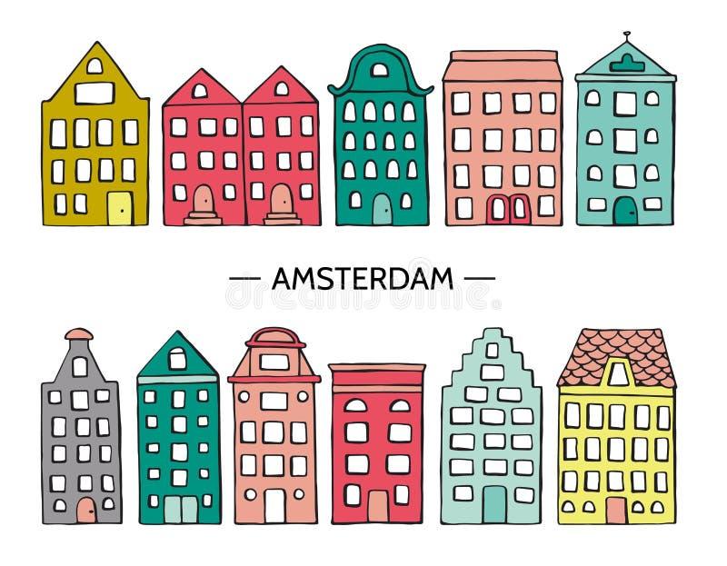Vektorillustration av gulliga hus stock illustrationer