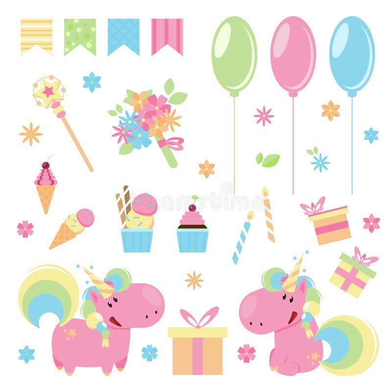 Vektorillustration av gulliga rosa enhörningar med beståndsdelar för lycklig födelsedag royaltyfri illustrationer