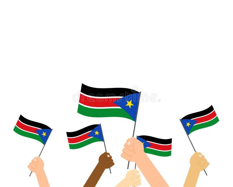 Vektorillustration av händer som rymmer södra Sudan flaggor stock illustrationer