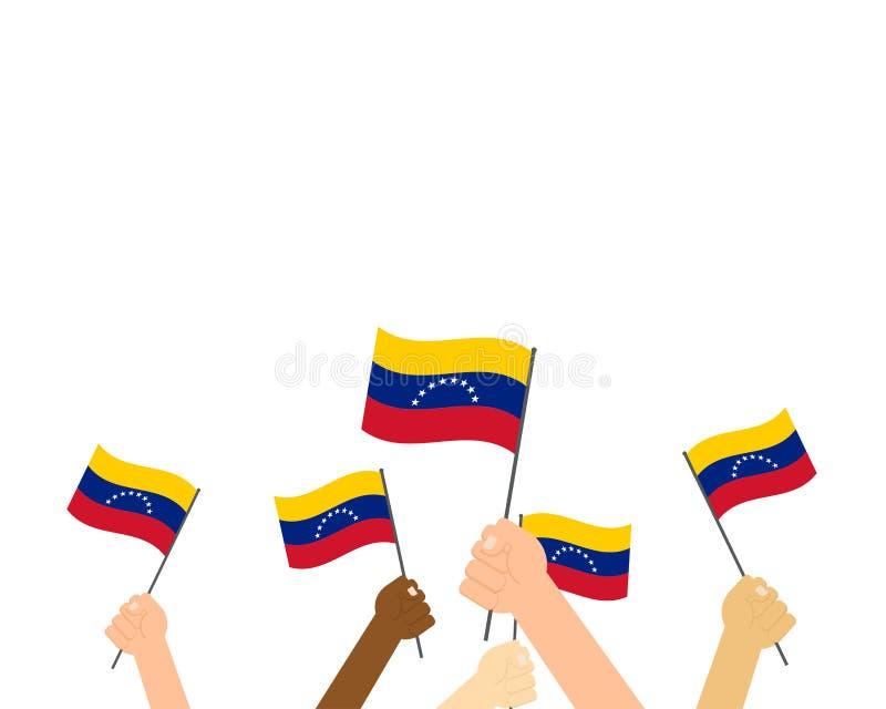Vektorillustration av händer som rymmer Venezuela flaggor vektor illustrationer