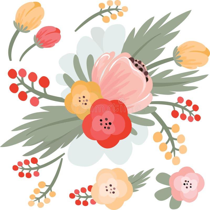 Vektorillustration av härliga blommor EPS redigerbart Mer i min portfölj stock illustrationer