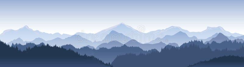 Vektorillustration av härligt mörker - blått berglandskap med dimma- och skogsoluppgång och solnedgång i berg royaltyfri illustrationer