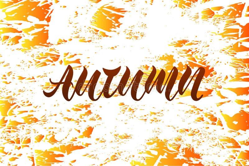 Vektorillustration av hösten för logotypen, reklamblad, baner, vykort, hälsningkort royaltyfri illustrationer