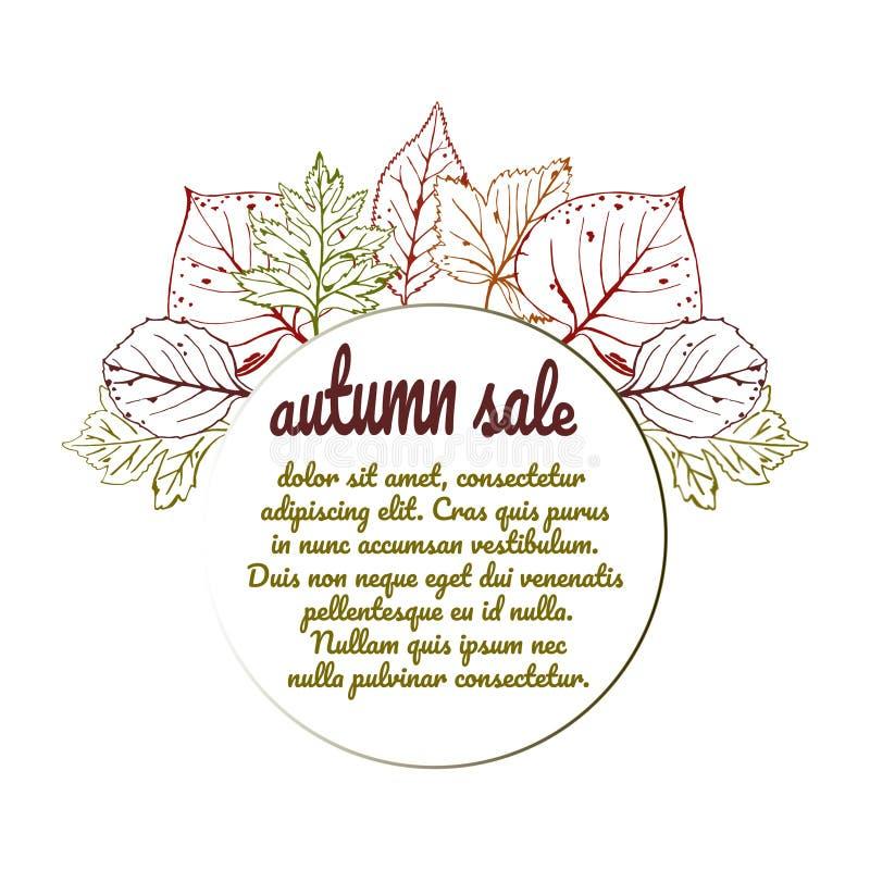 Vektorillustration av hösten med ramen för text, dragen hand Säsongsbetonad illustration med blad stock illustrationer
