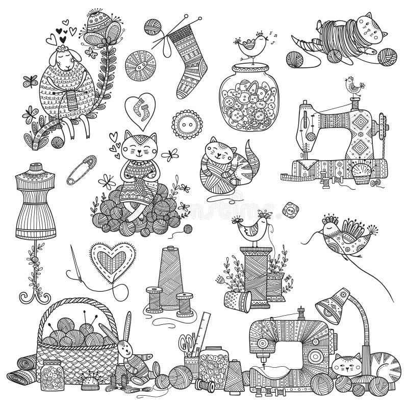 Vektorillustration av handarbete som syr hjälpmedel royaltyfri illustrationer