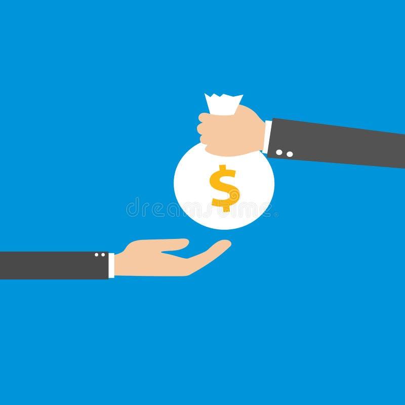 Vektorillustration av handen som ger påsen med pengar till en affärsman Plan design stock illustrationer