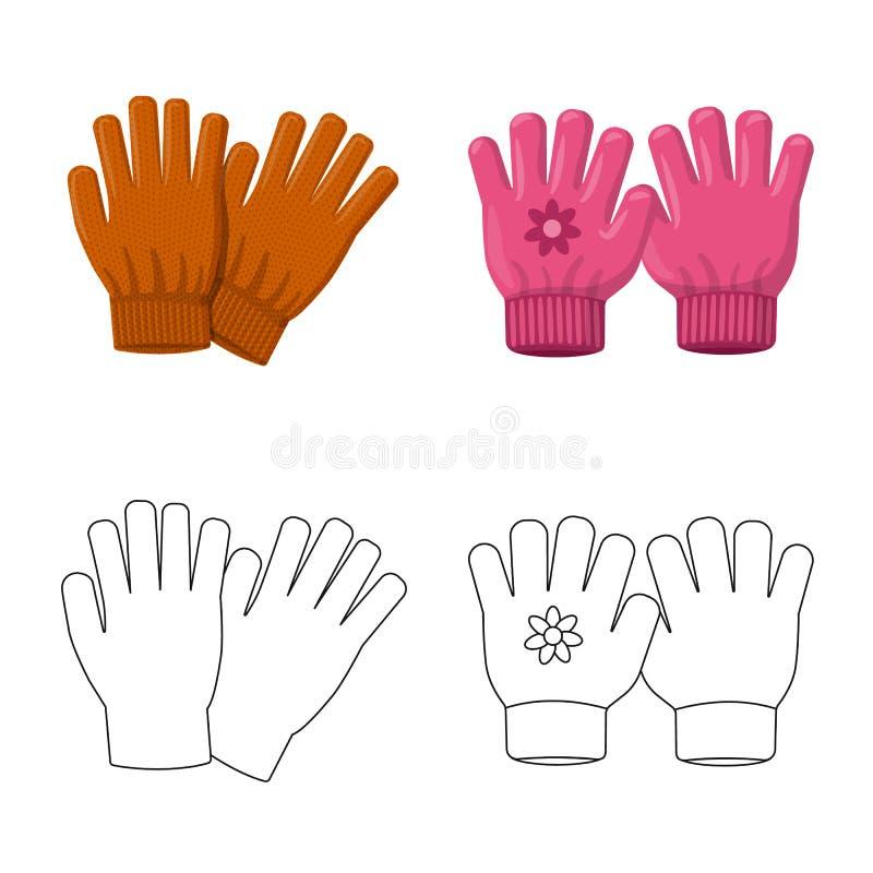 Vektorillustration av handsken och vinterlogoen Samling av handske- och utrustningvektorsymbolen för materiel royaltyfri illustrationer