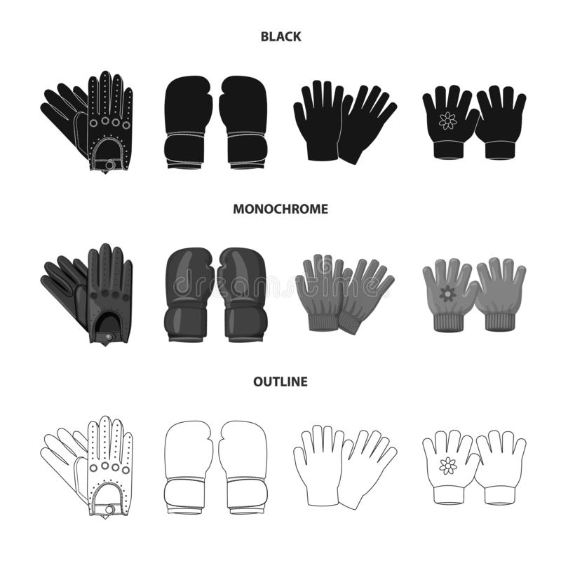 Vektorillustration av handsken och vintersymbolen Uppsättning av handske- och utrustningmaterielsymbolet för rengöringsduk royaltyfri illustrationer